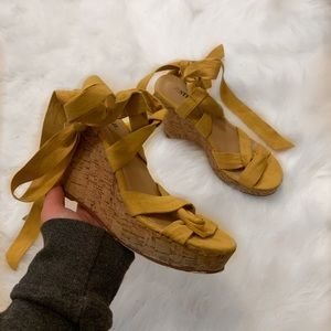 Yellow ribbon lace up wedges